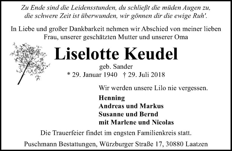 Traueranzeige von  Liselotte Keudel