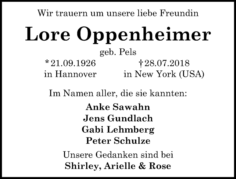 Traueranzeige von  Lore Oppenheimer