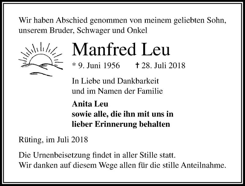 Traueranzeige von  Manfred Leu