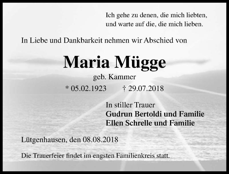 Traueranzeige von  Maria Mügge