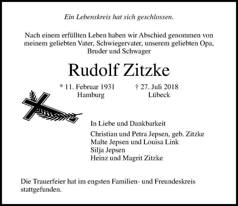 Traueranzeige von  Rudolf Zitzke
