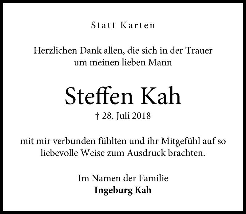 Traueranzeige von  Steffen Kah