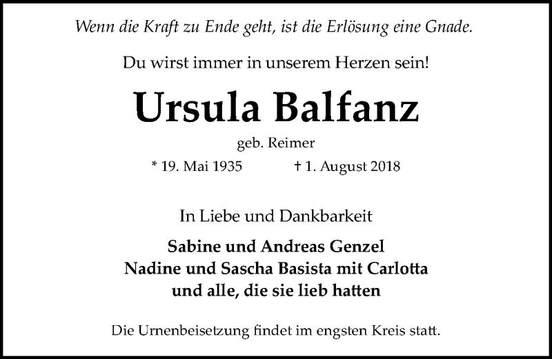 Traueranzeige von  Ursula Balfanz