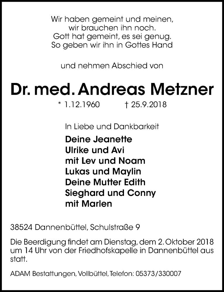 Traueranzeige für Andreas Metzner vom 28.09.2018 aus Aller Zeitung