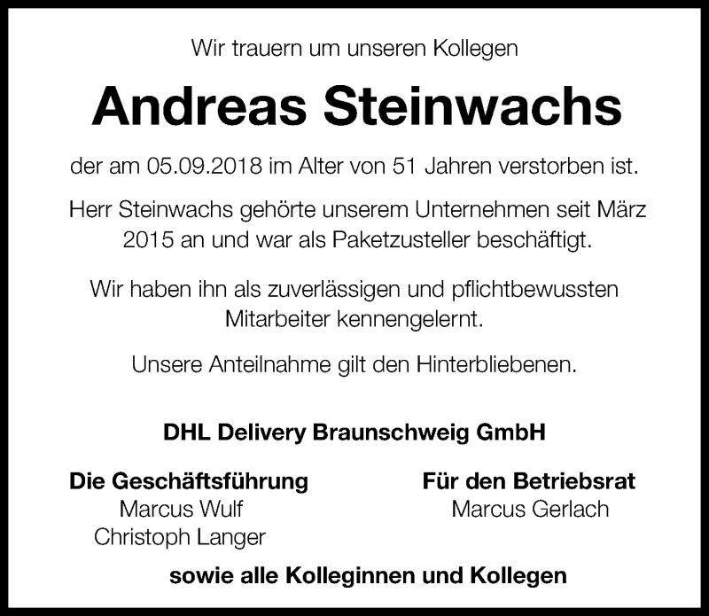 Traueranzeige für Andreas Steinwachs vom 10.09.2018 aus Aller Zeitung