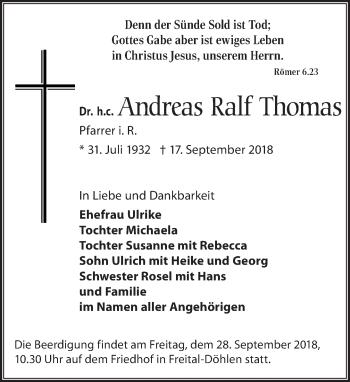Traueranzeige für Andreas Ralf Thomas vom 22.09.2018 aus Dresdner Neue Nachrichten
