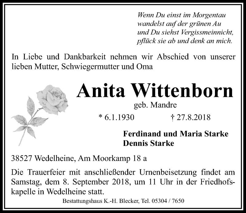 Traueranzeige für Anita Wittenborn vom 01.09.2018 aus Aller Zeitung