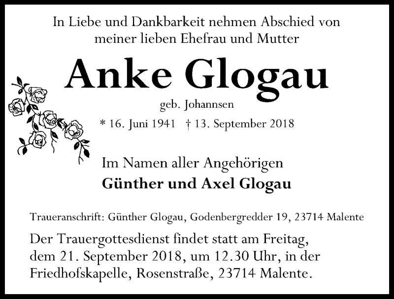 Traueranzeige von  Anke Glogau