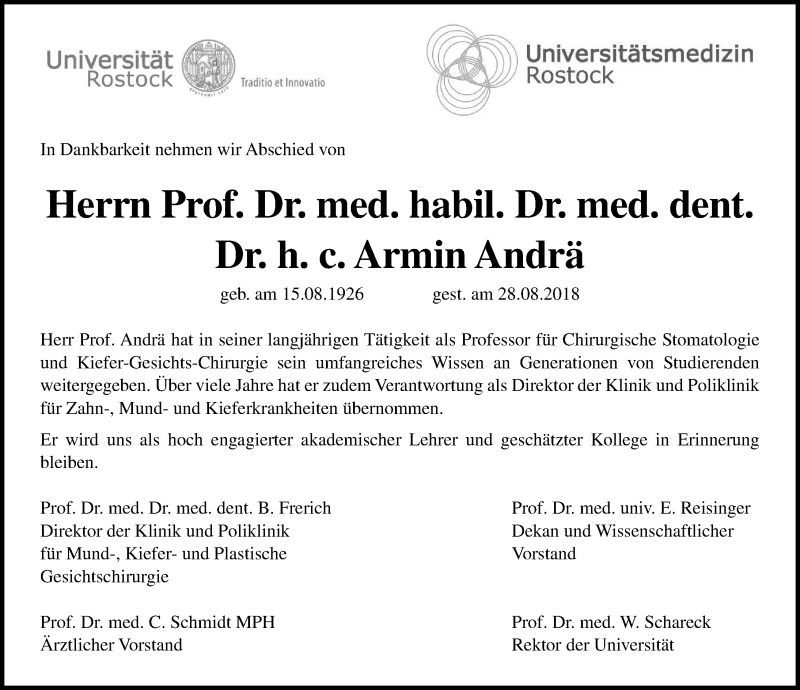 Traueranzeige von  Armin Andrä
