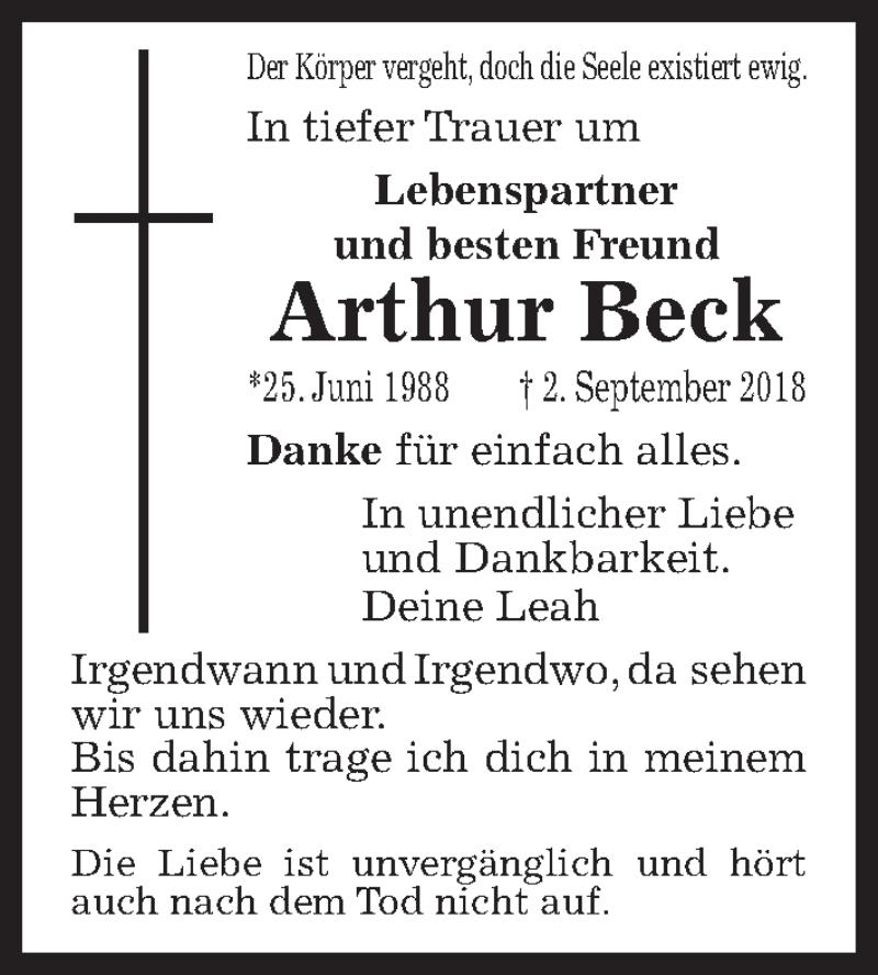 Traueranzeige von  Arthur Beck