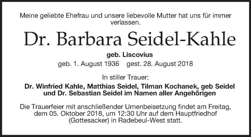 Traueranzeige für Barbara Seidel-Kahle vom 22.09.2018 aus Dresdner Neue Nachrichten