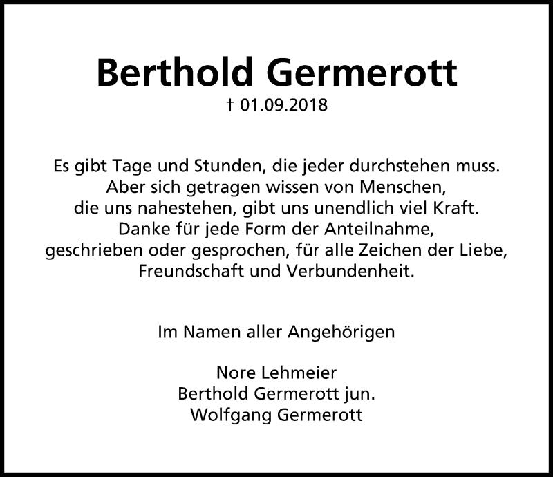 Traueranzeige von  Berthold Germerott