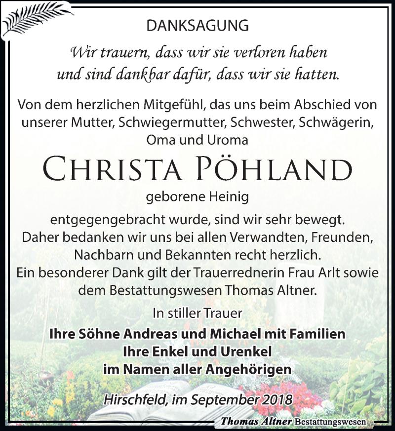 Traueranzeige von  Christa Pöhland