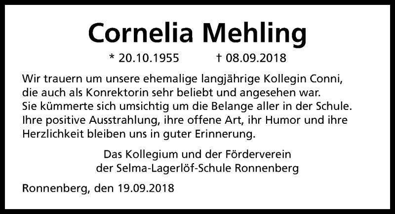 Traueranzeige für Cornelia Mehling vom 22.09.2018 aus Hannoversche Allgemeine Zeitung/Neue Presse