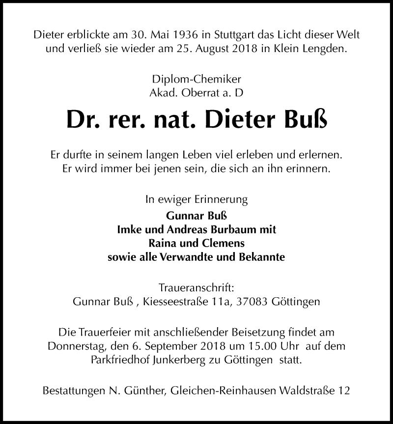 Traueranzeige von  Dieter Buß