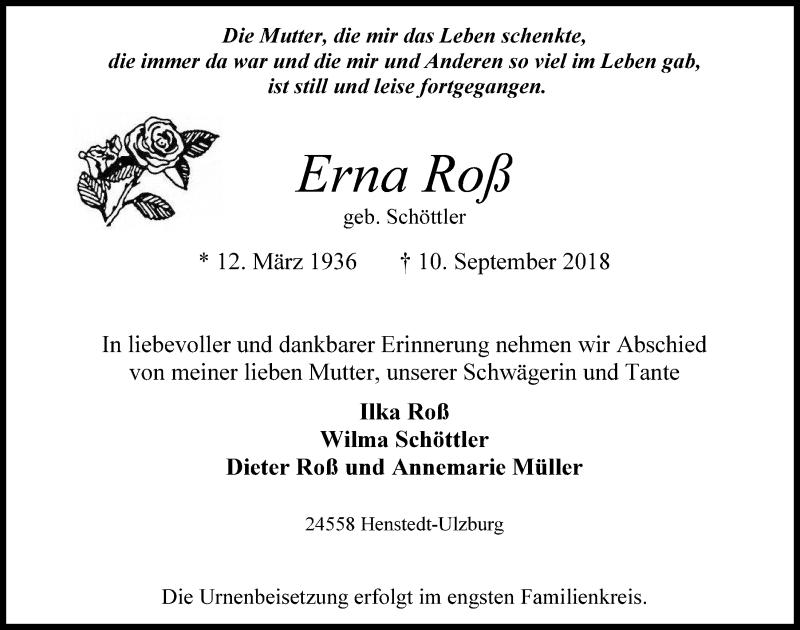 Traueranzeige von  Erna Roß