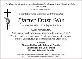 Traueranzeige für Ernst Selle vom 19.09.2018 aus Dresdner Neue Nachrichten