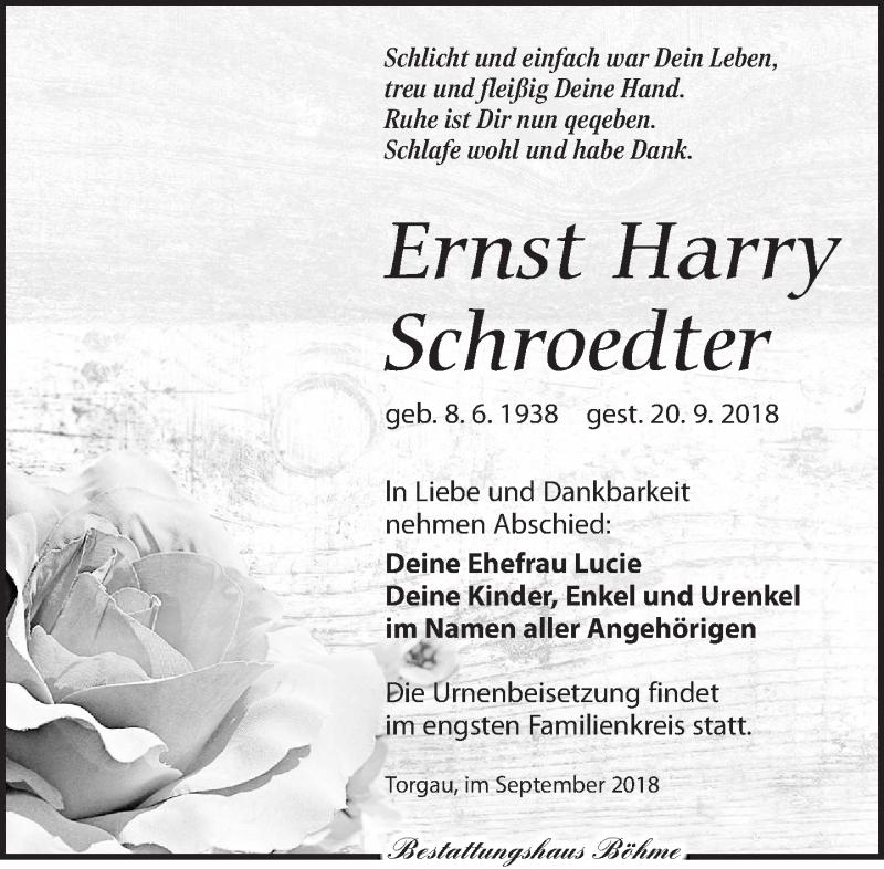 Traueranzeige für Ernst Harry Schroedter vom 29.09.2018 aus Torgauer Zeitung