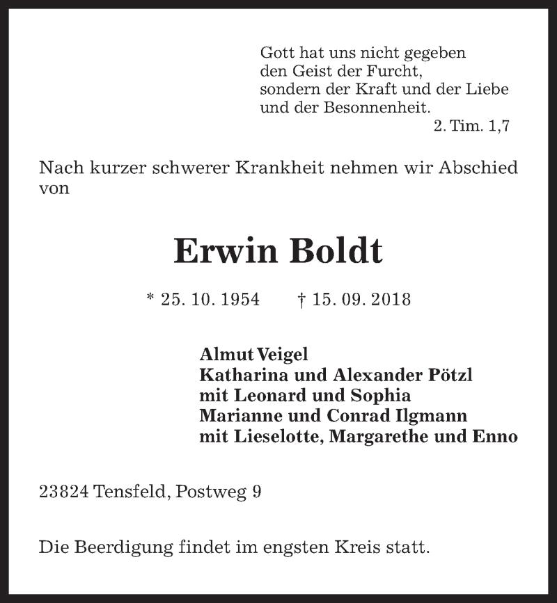 Traueranzeige von  Erwin Boldt