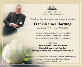 Traueranzeige für Frank-Rainer Hartung vom 15.09.2018 aus Leipziger Volkszeitung