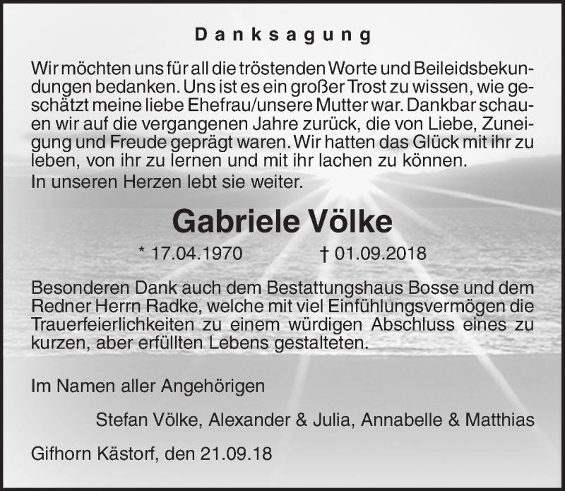 Traueranzeige für Gabriele Völke vom 21.09.2018 aus Aller Zeitung