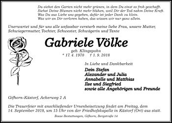 Traueranzeige für Gabriele Völke vom 08.09.2018 aus Aller Zeitung