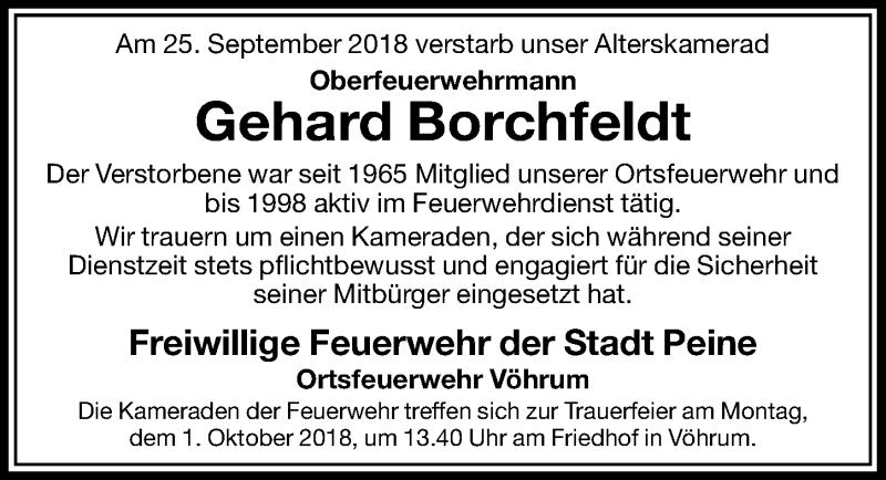Traueranzeige für Gehard Borchfeldt vom 29.09.2018 aus Peiner Allgemeine Zeitung