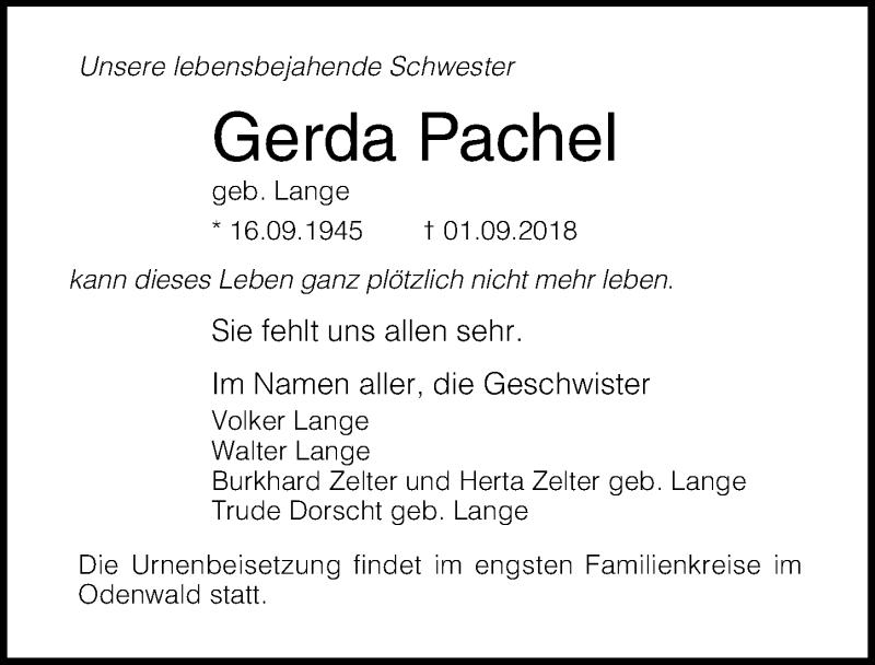 Traueranzeige von  Gerda Pachel