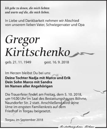 Traueranzeige für Gregor Kiritschenko vom 22.09.2018 aus Torgauer Zeitung