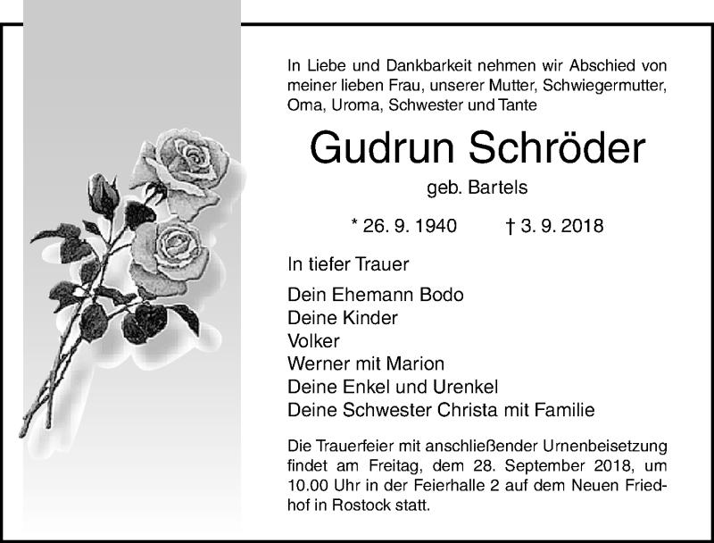 Traueranzeige von  Gudrun Schröder