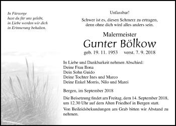 Traueranzeige für Gunter Bölkow vom 13.09.2018 aus Ostsee-Zeitung GmbH