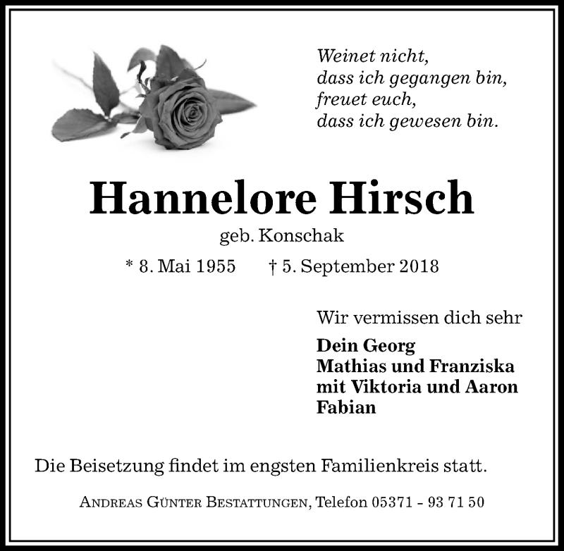 Traueranzeige für Hannelore Hirsch vom 12.09.2018 aus Aller Zeitung