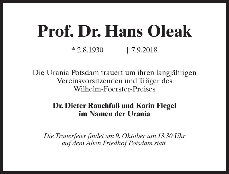 Traueranzeige für Hans Oleak vom 15.09.2018 aus Märkischen Allgemeine Zeitung
