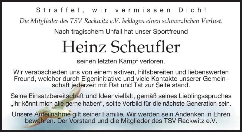 Traueranzeige von  Heinz Scheufler