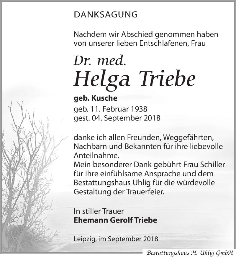 Traueranzeige von  Helga Triebe
