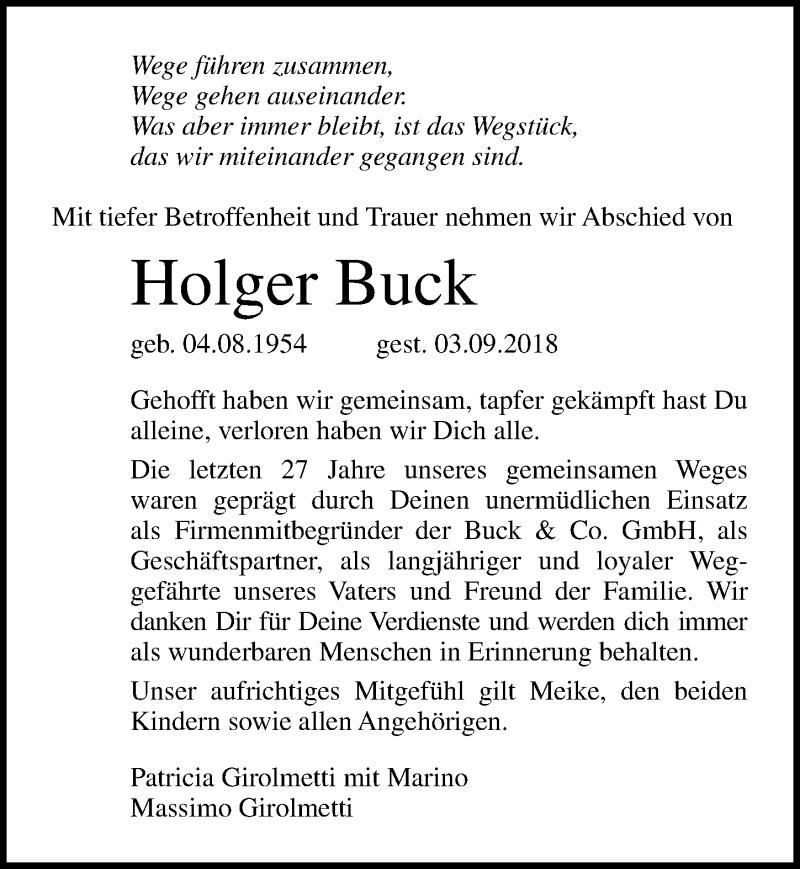 Traueranzeige von  Holger Buck