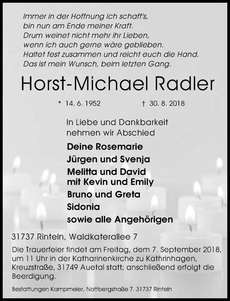 Traueranzeige für Horst-Michael Radler vom 04.09.2018 aus Schaumburger Nachrichten