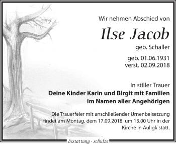 Traueranzeige für Ilse Jacob vom 08.09.2018 aus Leipziger Volkszeitung