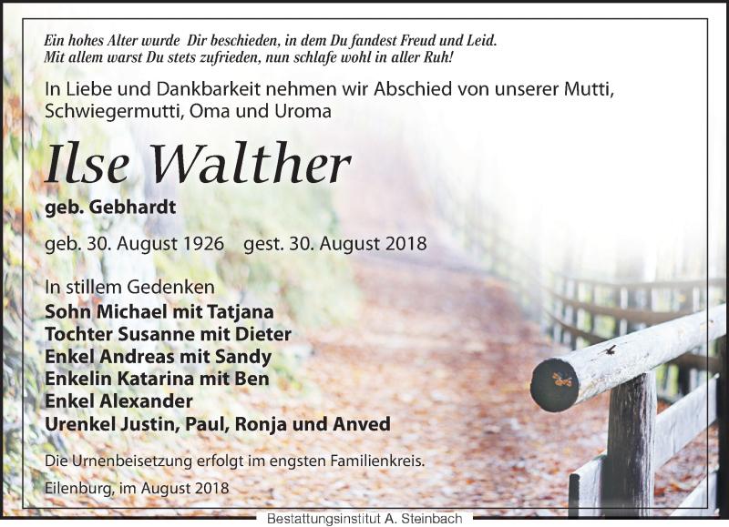 Traueranzeige von  Ilse Walther