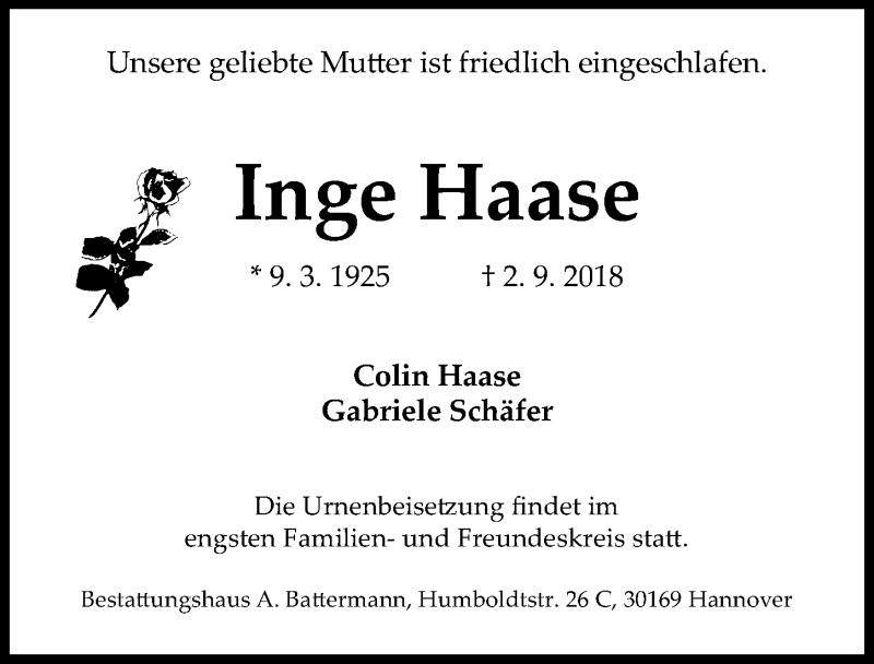 Traueranzeige von  Inge Haase
