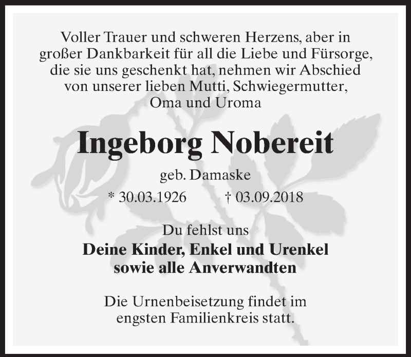 Traueranzeige für Ingeborg Nobereit vom 08.09.2018 aus Märkischen Allgemeine Zeitung
