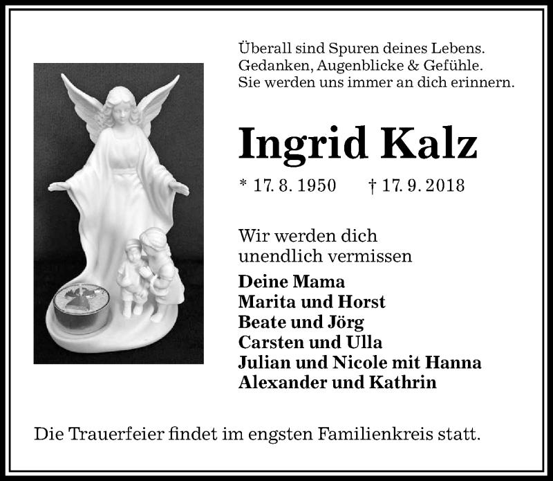 Traueranzeige für Ingrid Kalz vom 29.09.2018 aus Peiner Allgemeine Zeitung