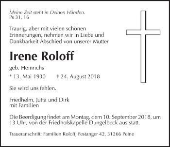 Traueranzeige für Irene Roloff vom 04.09.2018 aus Peiner Allgemeine Zeitung