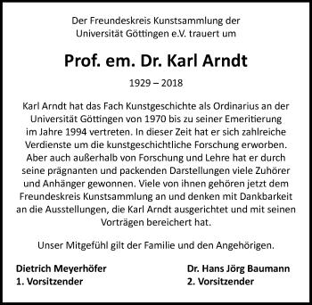 Traueranzeige für Karl Arndt vom 22.09.2018 aus Göttinger Tageblatt