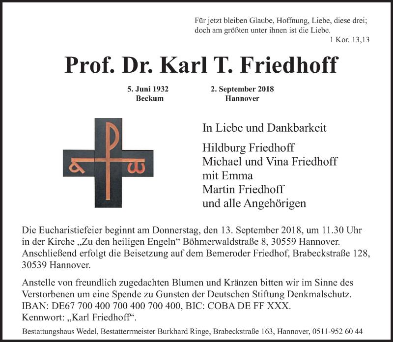 Traueranzeige von  Karl Friedhoff
