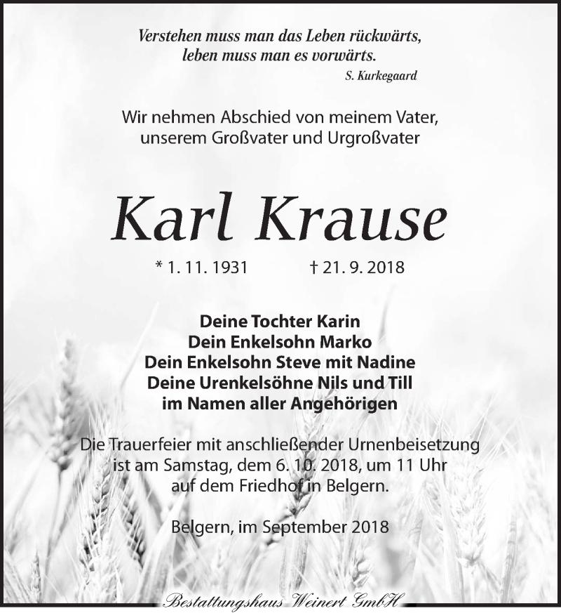 Traueranzeige für Karl Krause vom 29.09.2018 aus Torgauer Zeitung
