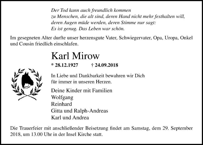 Traueranzeige von  Karl Mirow