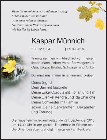 Traueranzeige für Kaspar Münnich vom 15.09.2018 aus Ostsee-Zeitung GmbH