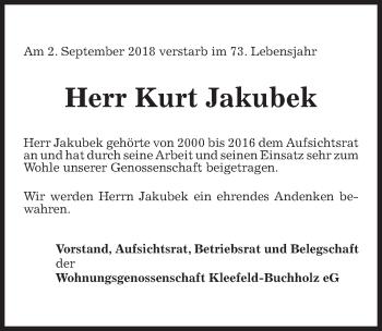 Traueranzeige für Kurt Jakubek vom 08.09.2018 aus Hannoversche Allgemeine Zeitung/Neue Presse
