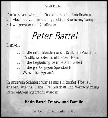 Traueranzeige für Peter Bartel vom 29.09.2018 aus